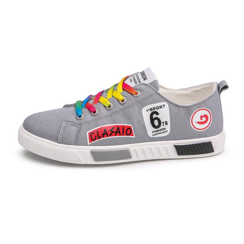 New Fashion Youth Colorful Lace Canvas Shoes - LIGHT GRAY 41