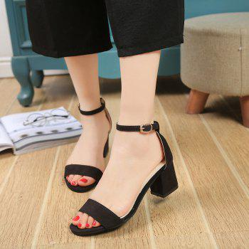Open Toe with Word Buckle with Simple Sandals - BLACK 38