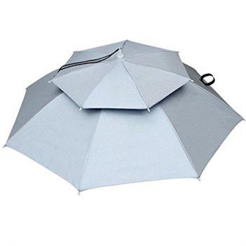 Outdoor Large Double Layer Fishing Umbrella Hat Camping Beach Sunshade Cap - WHITE