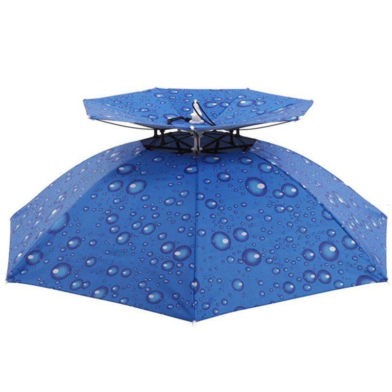 Outdoor Large Double Layer Fishing Umbrella Hat Camping Beach Sunshade Cap - DENIM BLUE