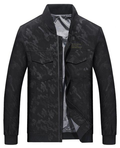 Camouflage Stand Collar Soft and Delicate Jacket - BLACK 3XL