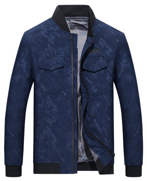 Camouflage Stand Collar Soft and Delicate Jacket - BLUE 3XL