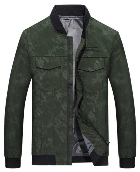 Camouflage Stand Collar Soft and Delicate Jacket - SEA GREEN 3XL
