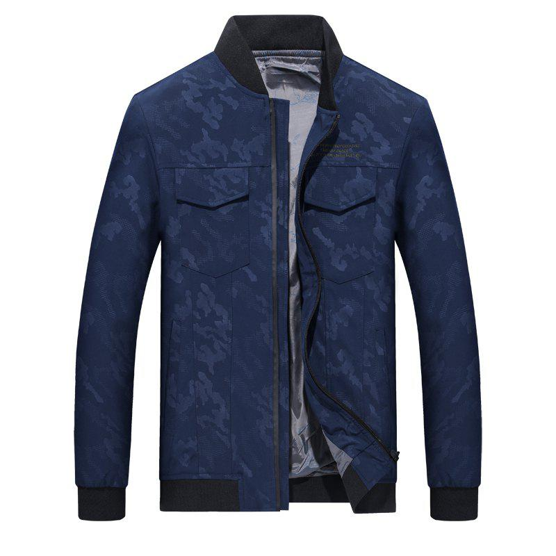 Camouflage Stand Collar Soft and Delicate Jacket - BLUE L
