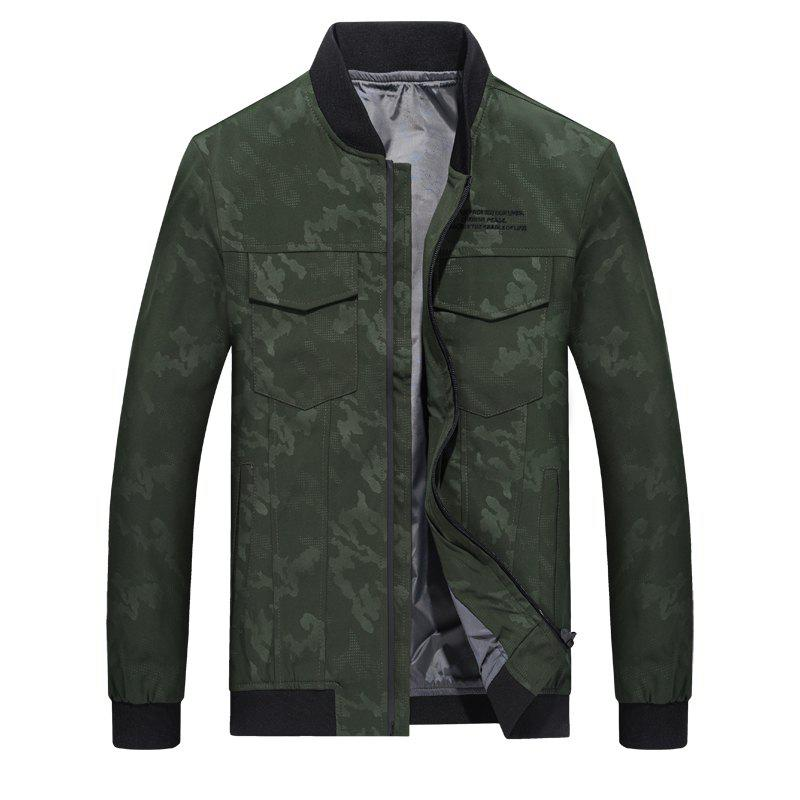 Camouflage Stand Collar Soft and Delicate Jacket - SEA GREEN 2XL