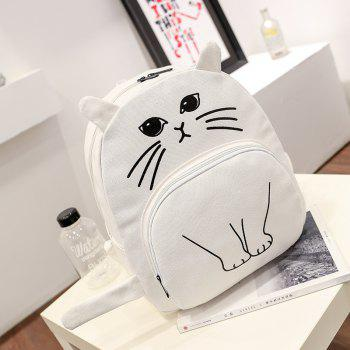 Cartoon Cat Canvas Shoulder Bag - WHITE VERTICAL