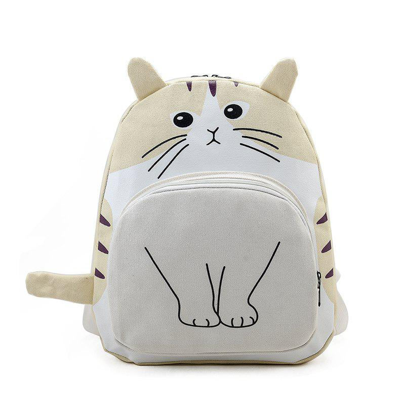 Cartoon Cat Canvas Shoulder Bag - YELLOW VERTICAL