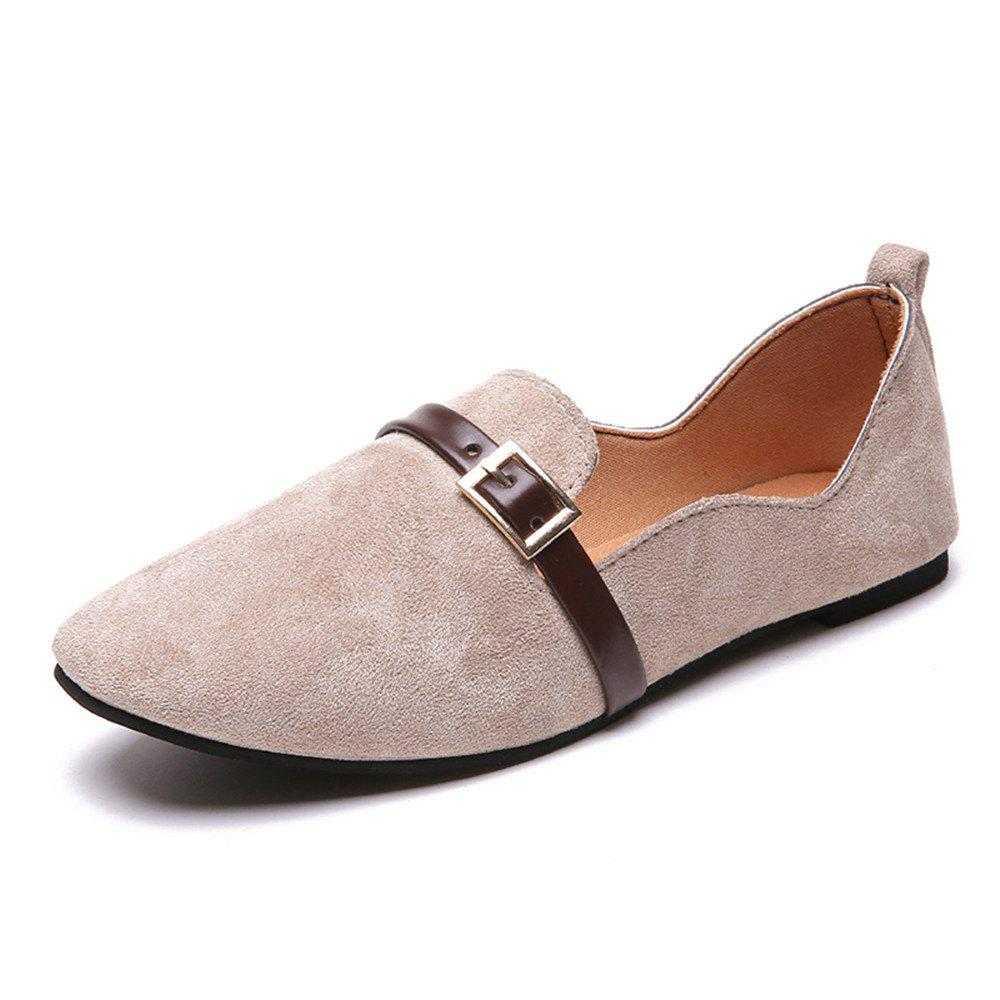 Flat Foot Shallow Mouth Rough Grinding Simple Round Head Single Shoes -  APRICOT 39