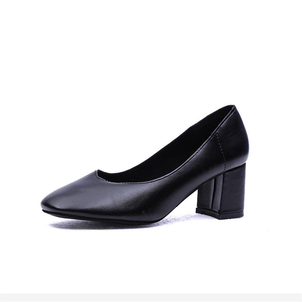 Shallow Breathable Round Head Thick Heel High Heel Female Shoes - BLACK 39