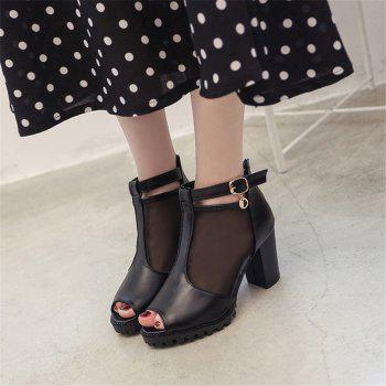 Net Gauze Cold Boots Heel Buckle Thick Heel  Fish Mouth Women's Shoes - BLACK 39