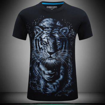 Summer 3D Printing 2018 Tide Loose White Tiger Short Sleeve T-Shirt - NIGHT 4XL