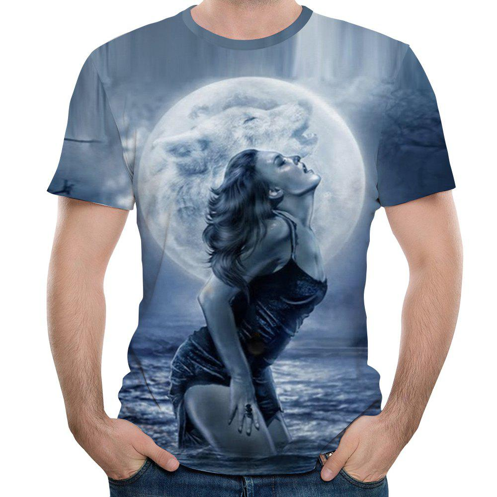 2018 Summer New 3D Short-sleeve T-Shirt - LIGHT SLATE GRAY 6XL