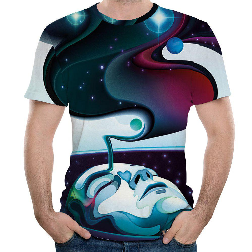 Summer New 3D Printed Sports Men's Short Sleeve T-shirts - multicolor I 3XL