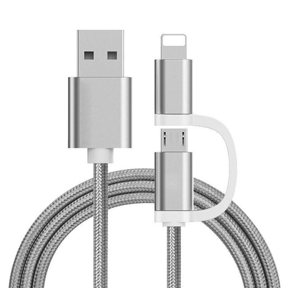 The Two-In-One Charging Durable and Fast Charging Cable For iPhone Android - GRAY
