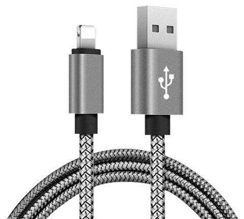 1M Nylon Braid Data Charger USB Cable for Iphone - GRAY
