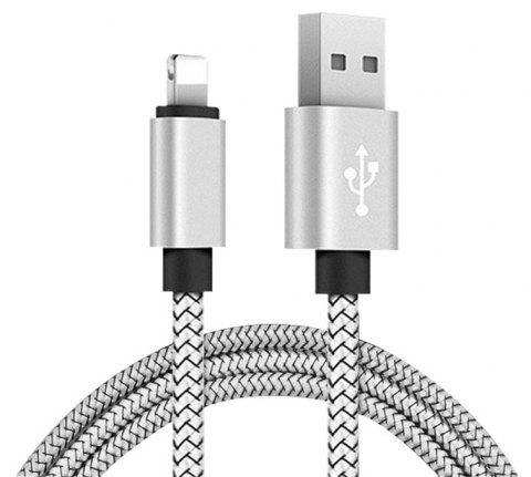1M Nylon Braid Data Charger USB Cable for Iphone - SILVER