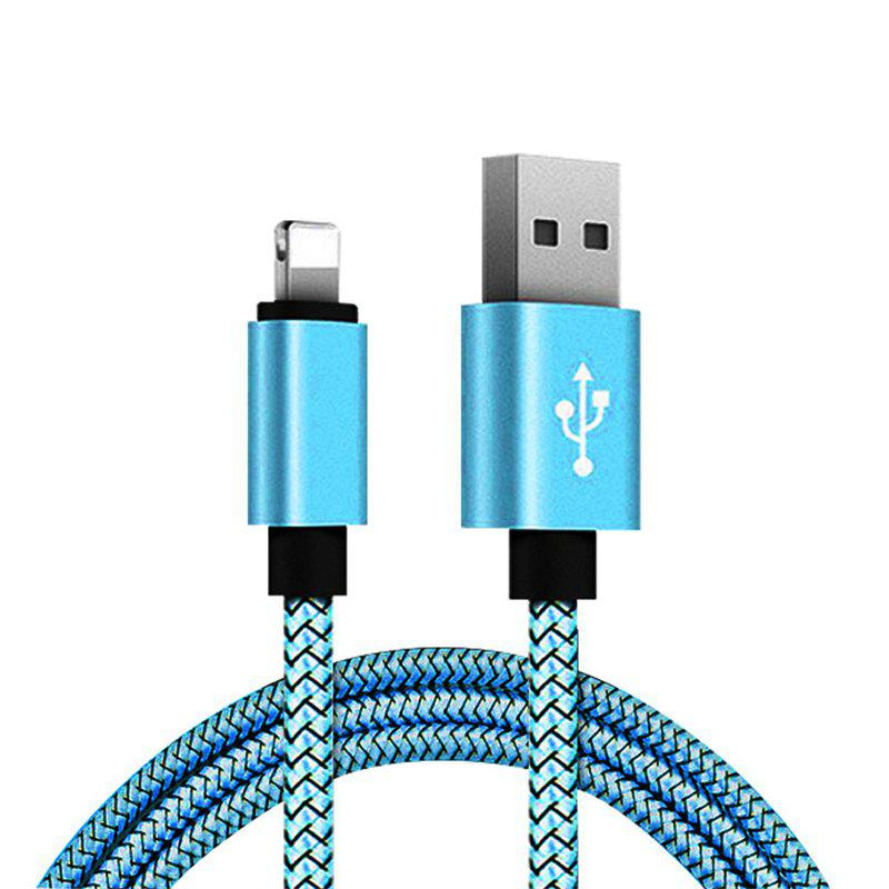 1M Nylon Braid Data Charger USB Cable for Iphone - DAY SKY BLUE