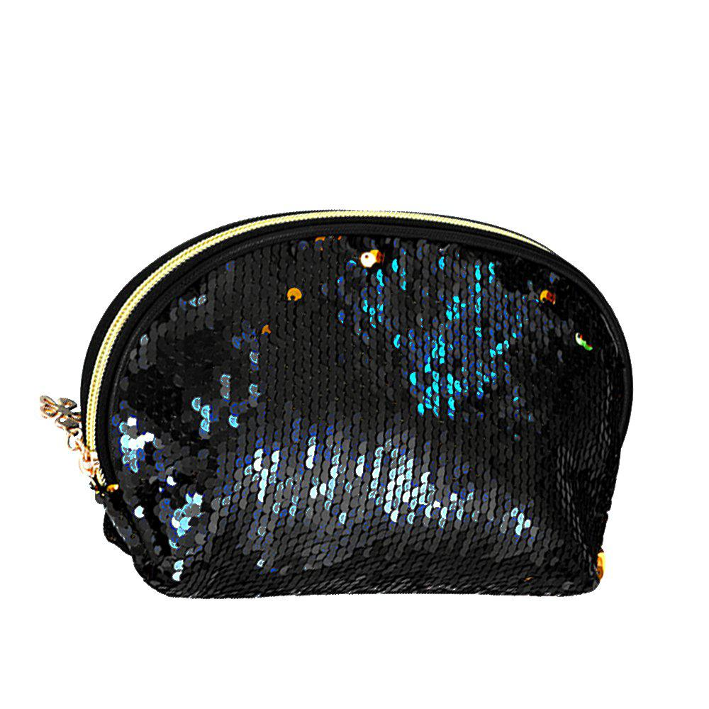 Sms-03 Sequins Holding A Cosmetic Bag 4 color - BLACK