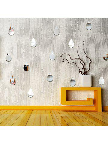 22pcs Rain Drop Mirror Wall Stickers For Home Decoration