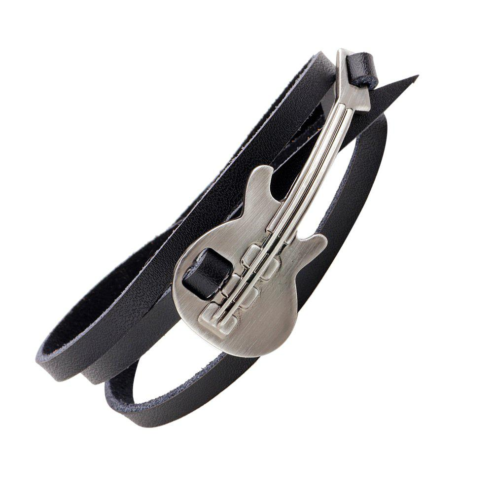 Fashion Contracted Alloy Guitar Rock Men'S and Women'S Bracelet - BLACK 10CM