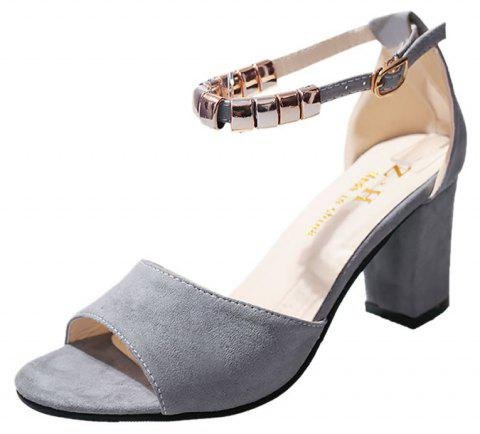 High Heel With Beaded Fish Mouth Sandals - GRAY 40