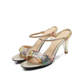 Fine Heel Slippers in Color Printing - YELLOW 34