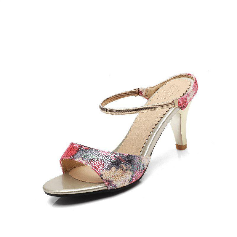 Fine Heel Slippers in Color Printing - RED 43