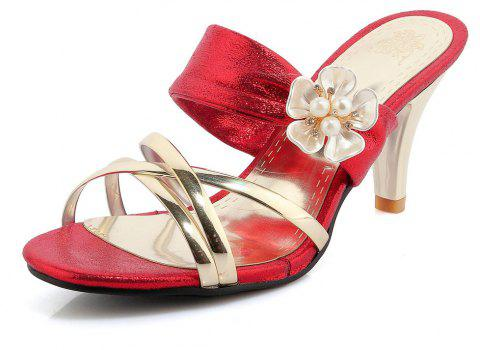 Beautiful Gold-Plated Middle Heel Slippers - RED 39