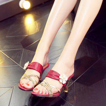Beautiful Gold-Plated Middle Heel Slippers - RED 37