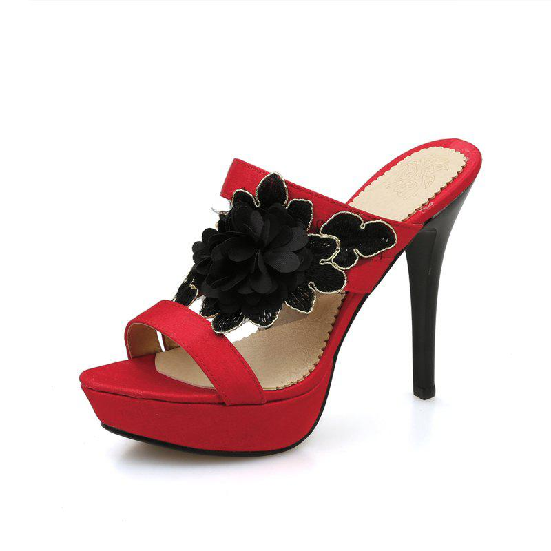 Sexy Super Heel Slippers Flower - RED 43