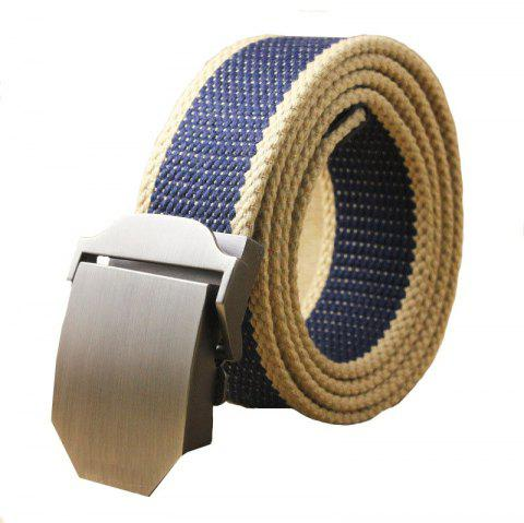 Hot Male Tactical Belt Top Quality Casual Canvas Outdoor Automatic Buckle - BLUEBERRY BLUE 110CM