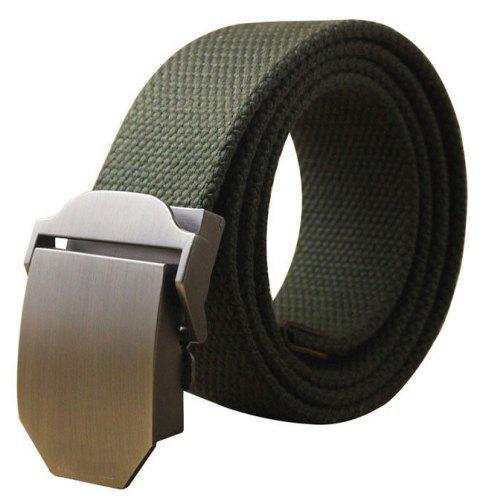 Hot Male Tactical Belt Top Quality Casual Canvas Outdoor Automatic Buckle - MEDIUM SEA GREEN 110CM