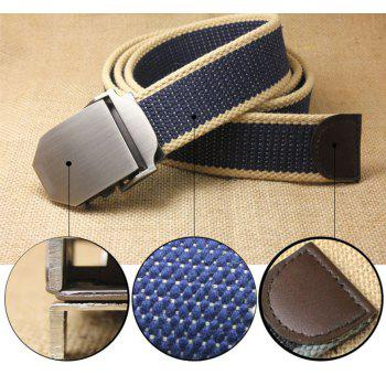 Hot Male Tactical Belt Top Quality Casual Canvas Outdoor Automatic Buckle - BLUEBERRY BLUE 130CM