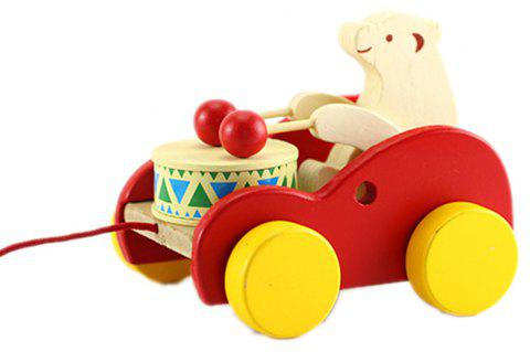 Wooden Child Bear Drums with Wire Drawing Toy - multicolor