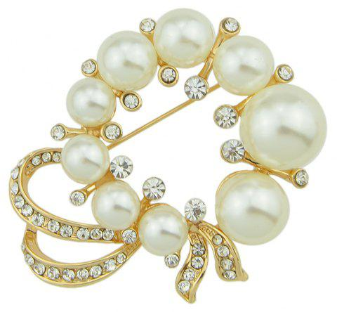 Simulated-pearl Flower for Women Brooches - GOLDEN BROWN