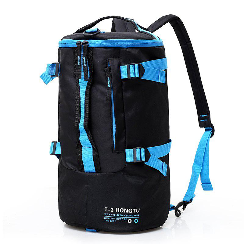 Fashion Contrast Color Outdoor Sports Backpack Unisex Mountaineering Bag - DEEP SKY BLUE