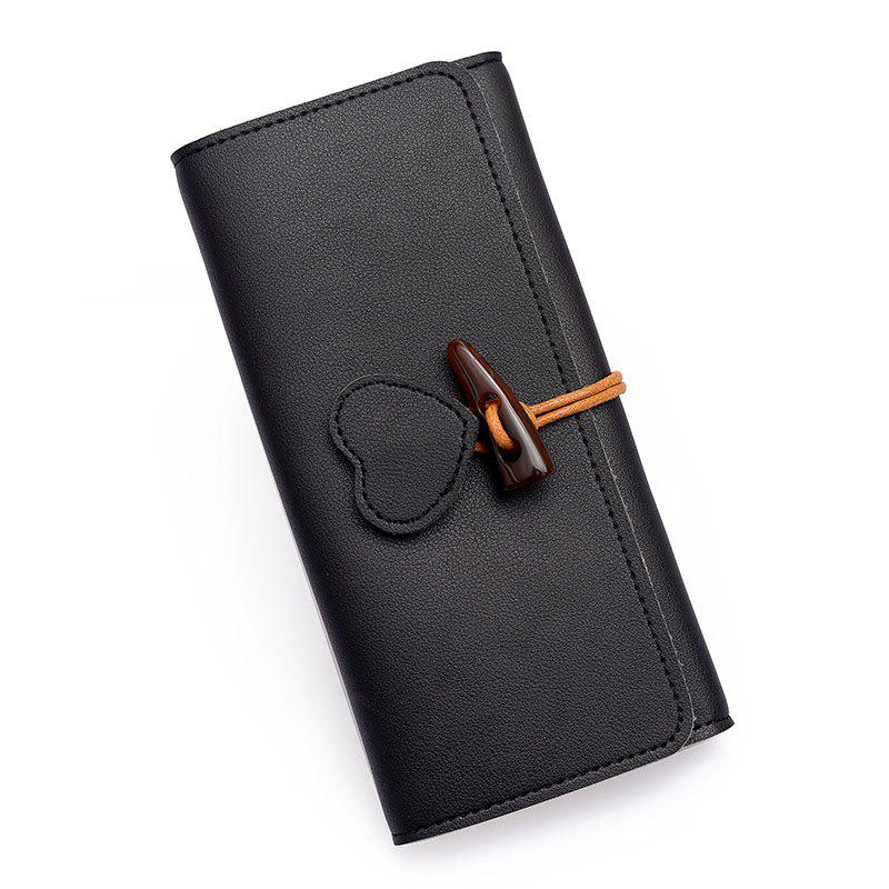 Long Fashion Horn Buckle Wallet - BLACK