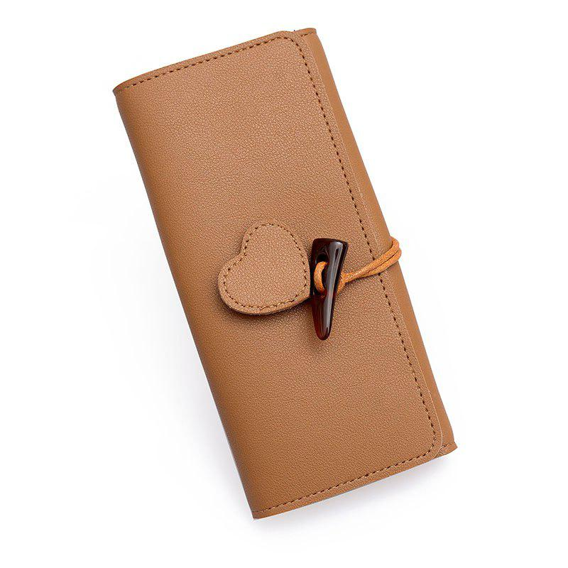 Long Fashion Horn Buckle Wallet - BROWN SUGAR