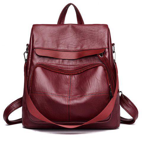 Simple Personalized Large-capacity Travel Backpack - RED WINE