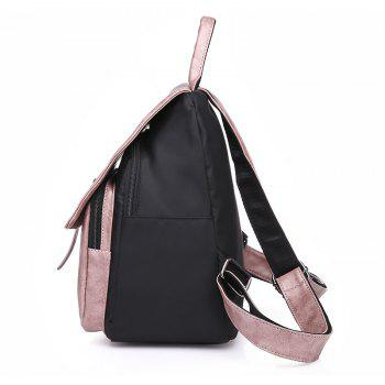 Large Capacity Bag Double Back All-match PU with Nylon Backpack - PINK