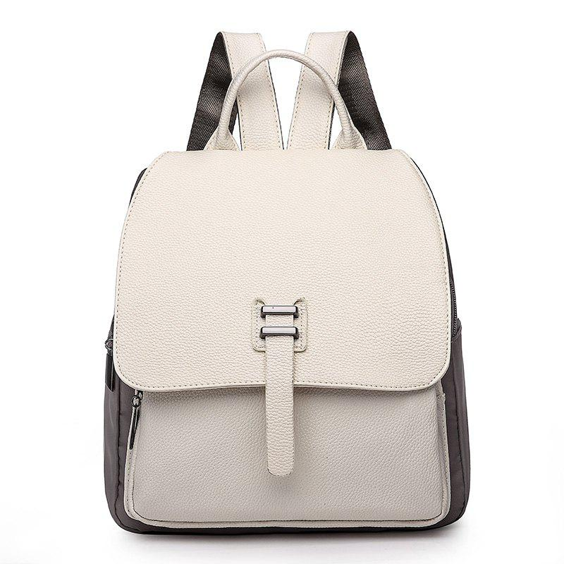 Large Capacity Bag Double Back All-match PU with Nylon Backpack - WHITE
