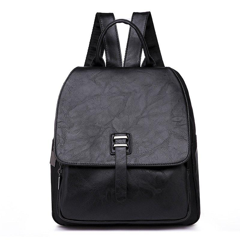 Large Capacity Bag Double Back All-match PU with Nylon Backpack - BLACK