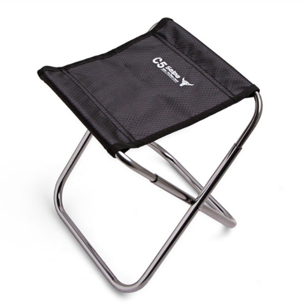 Aluminum Alloy Outdoor Folding Chair Fishing Stool - BLACK