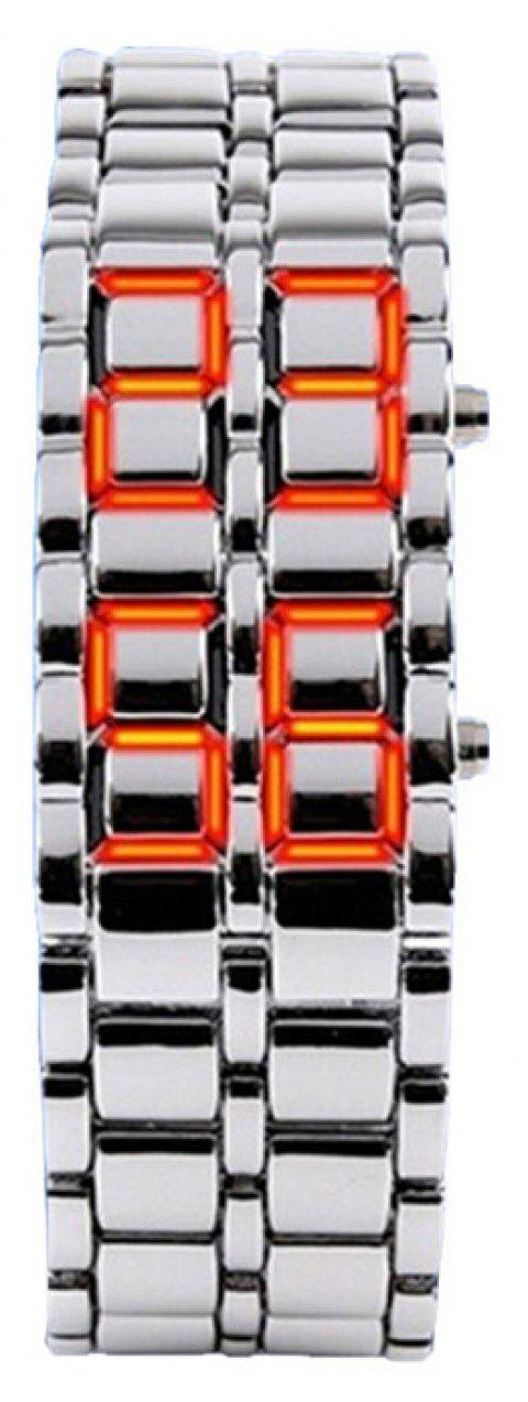Stainless Steel Men Digital Watches - LAVA RED