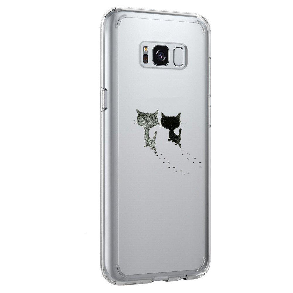 Case for Galaxy S8 Plus TPU Soft Shell Couple Cat Pattern - TRANSPARENT
