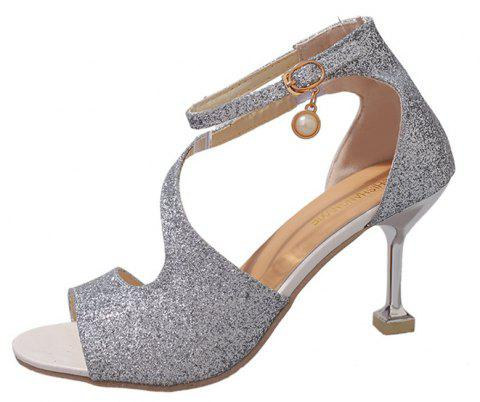 Women Fashion Frosted Pumps Shoes Ankle Strap Sandals - SILVER 39