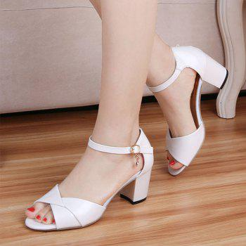 Summer Sandals with Thick Heels Fish Mouth Head Shoes for Women - WHITE 39