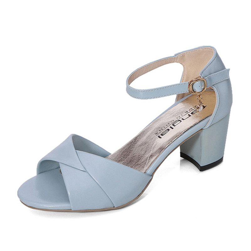 Summer Sandals with Thick Heels Fish Mouth Head Shoes for Women - DAY SKY BLUE 37