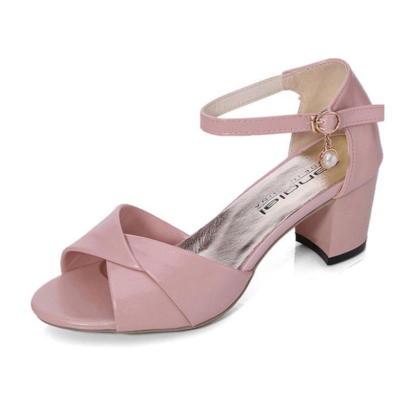 Summer Sandals with Thick Heels Fish Mouth Head Shoes for Women - PINK 39