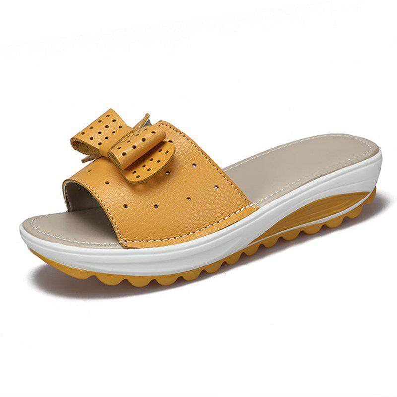 Women Summer Casual Thick-soled Non-slip Slippers Hollow PU Shoes - Yellow - 38